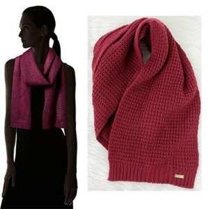 Calvin Klein Burgundy Women Waffle Knit Soft Scarf